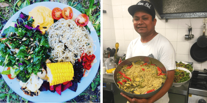 Delicious lunch including sweet potato noodles and Jeevi The Laughing Chef | Happy Buddha Recipes