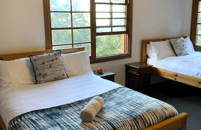 Guest room in communal house on the Silent Meditation Retreat