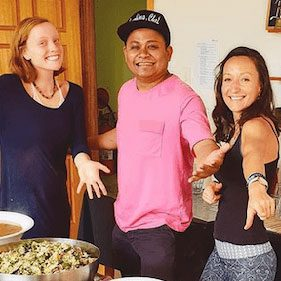 The Laughing chef and yoga retreat volunteers