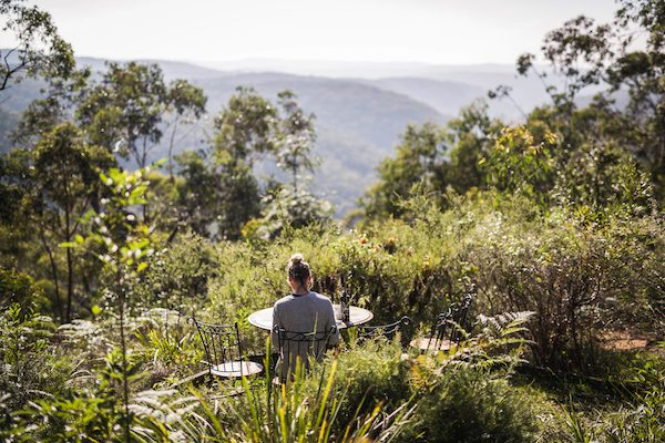 A retreater meditating in silence in the Blue Mountains