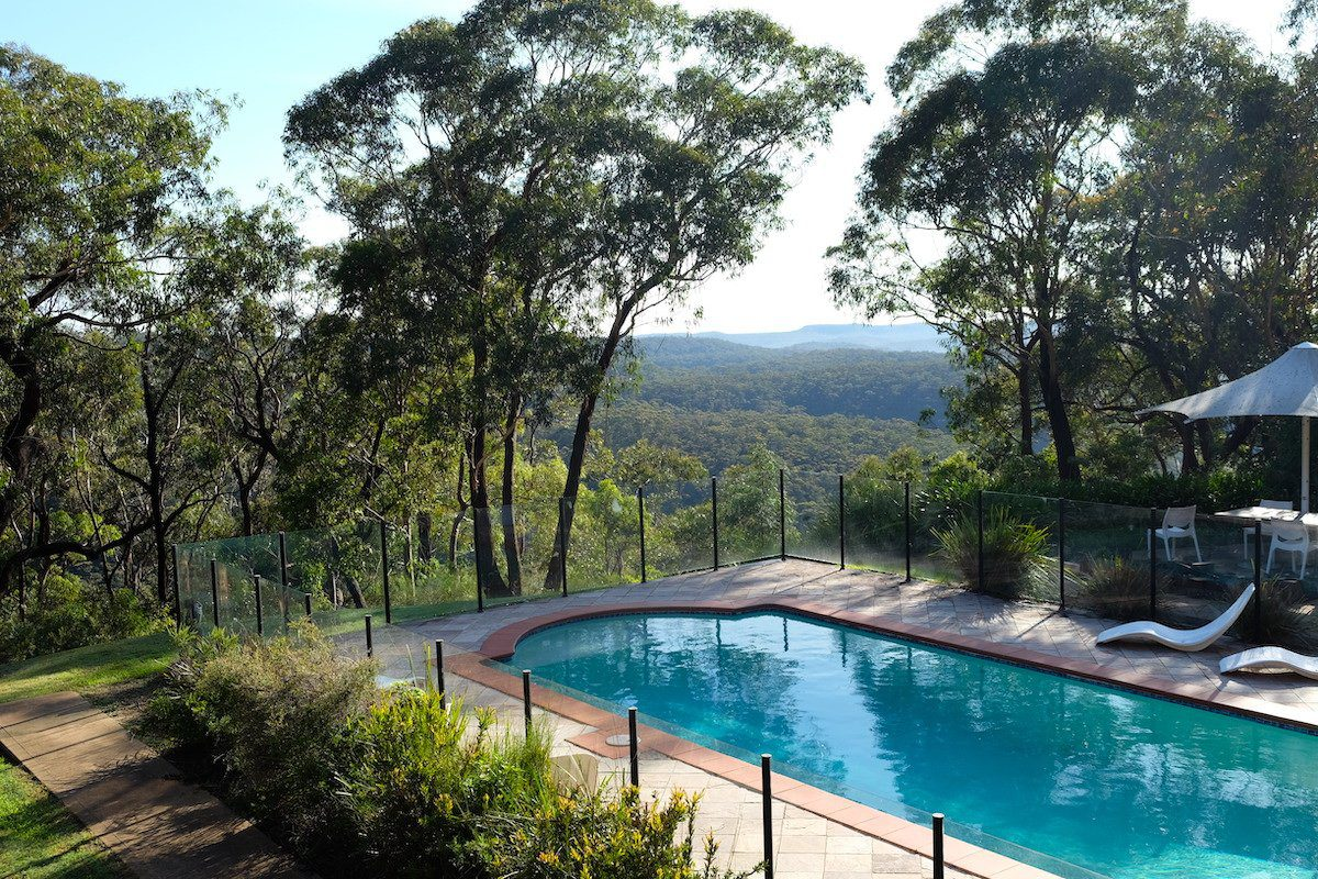the pool and view at happy buddha retreats
